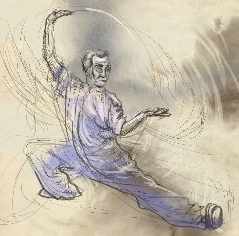 Taiji (Tai Chi) Een hoogtepunt - met maat hand getrokken illustra royalty-vrije illustratie