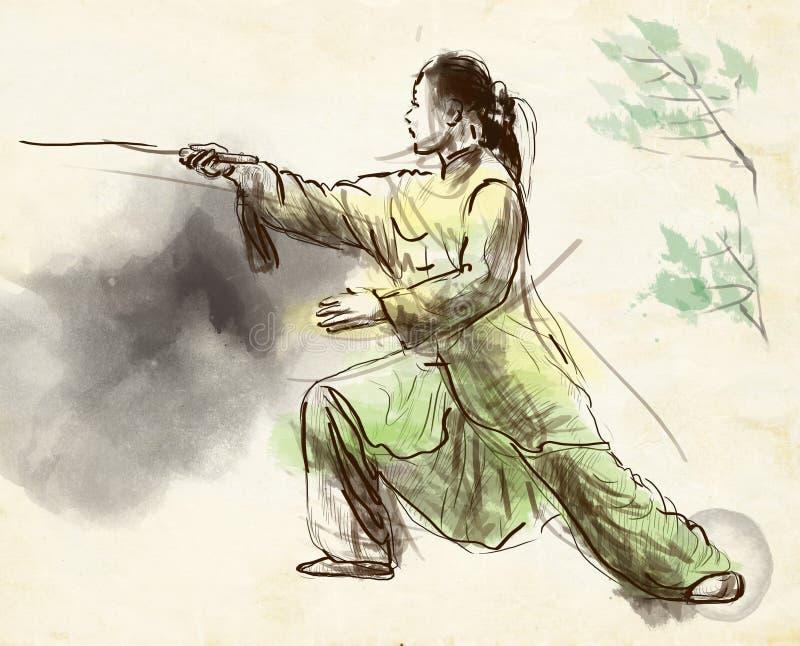 Taiji (Tai Chi) Een hoogtepunt - met maat hand getrokken illustra stock illustratie