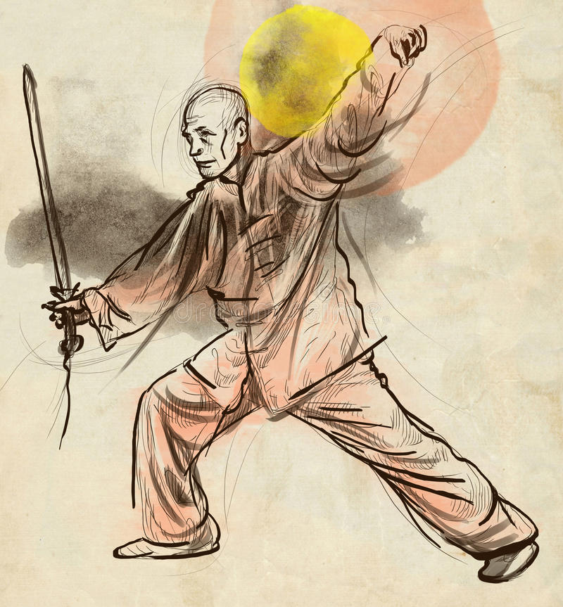 Taiji (Tai Chi) Een hoogtepunt - met maat hand getrokken illustra vector illustratie