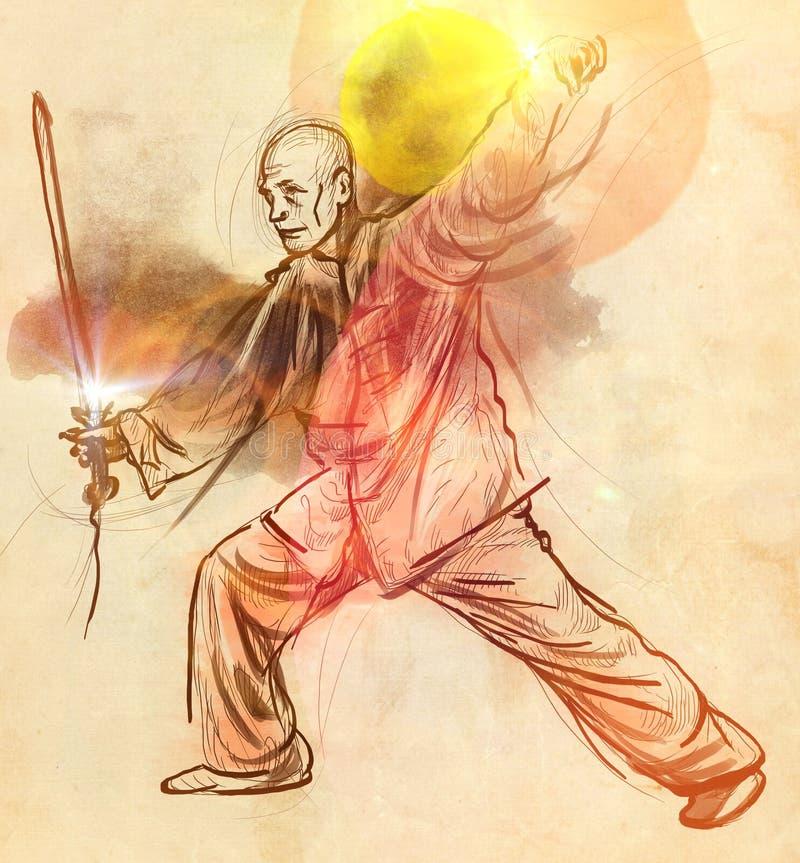 Taiji (Tai Chi) Ein lebensgroße Hand gezeichnetes illustra vektor abbildung