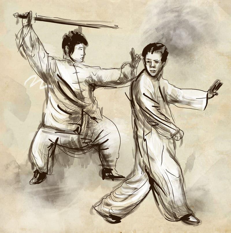 Taiji (Tai Chi) Mão sem redução um illustra tirado ilustração do vetor