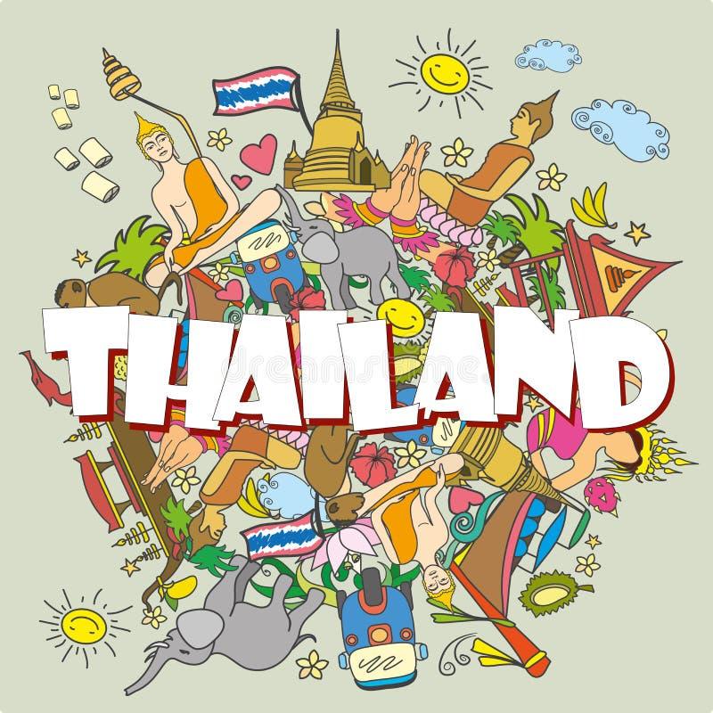 tailândia Ícones do vetor da cor e símbolos tailandeses ajustados, illu do vetor ilustração royalty free