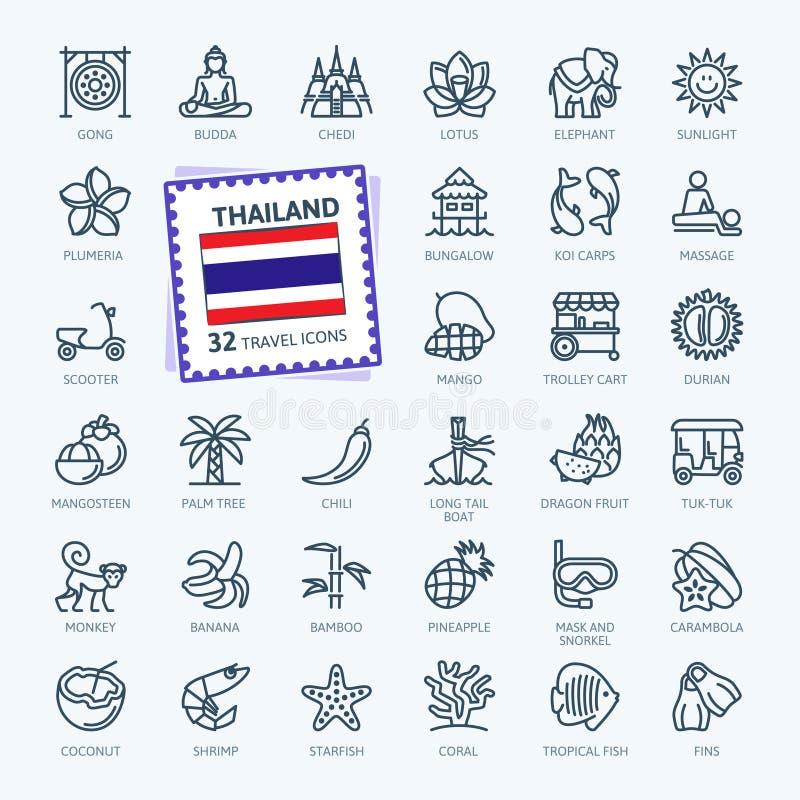 Tailândia, tailandesa - linha fina mínima grupo do ícone da Web Cole??o dos ?cones do esbo?o fotografia de stock