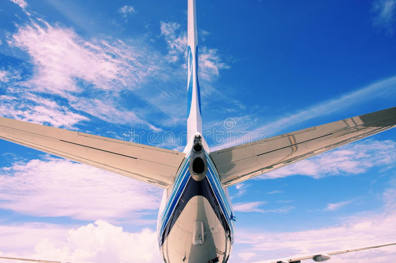 Tail of airplane stock photography