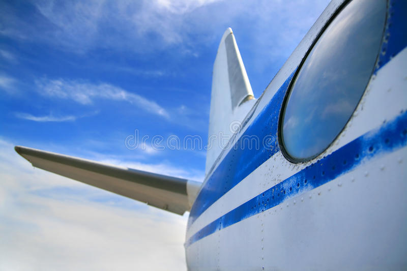 Tail of airplane stock photo