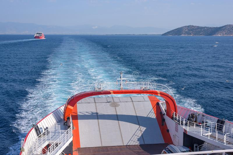 Tail of a ferry boat heading to Thassos island stock photography