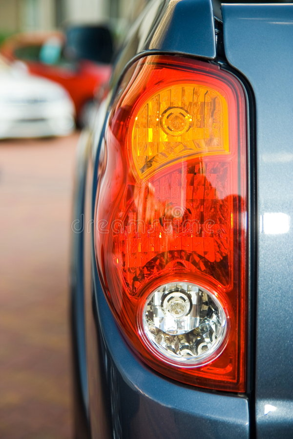 Tail Lights Of A Blue Truck Stock Image