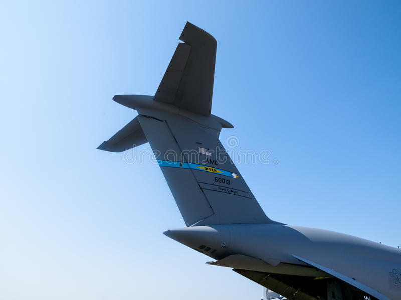 Tail of Lockheed C-5 Galaxy royalty free stock photography