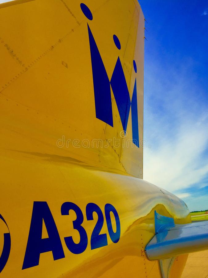 Tail of a Monarch Airlines A320 Airbus Airplane Tail royalty free stock photography