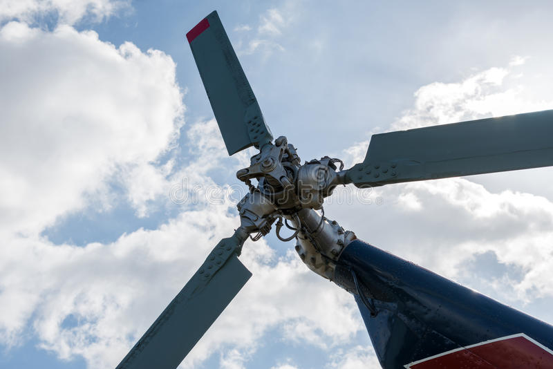 Tail rotor of the helicopter stock photography