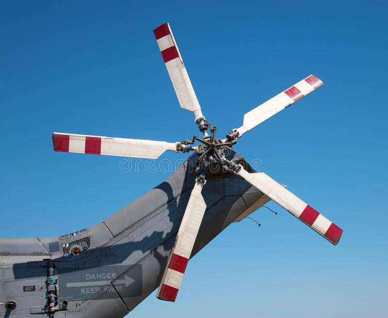 Tail rotors of a combat helicopter royalty free stock photography