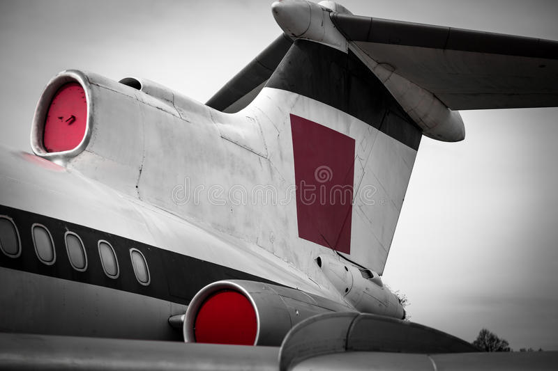 Tail section of a vintage jet aircraft royalty free stock photography
