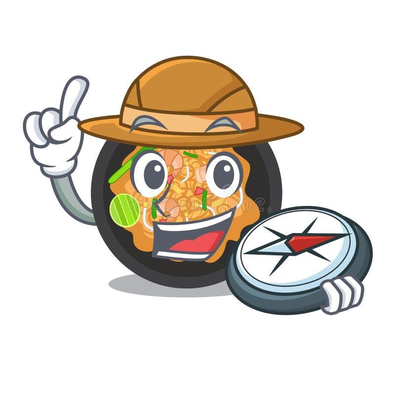 Tailandês da pancadinha do explorador na forma dos desenhos animados ilustração do vetor