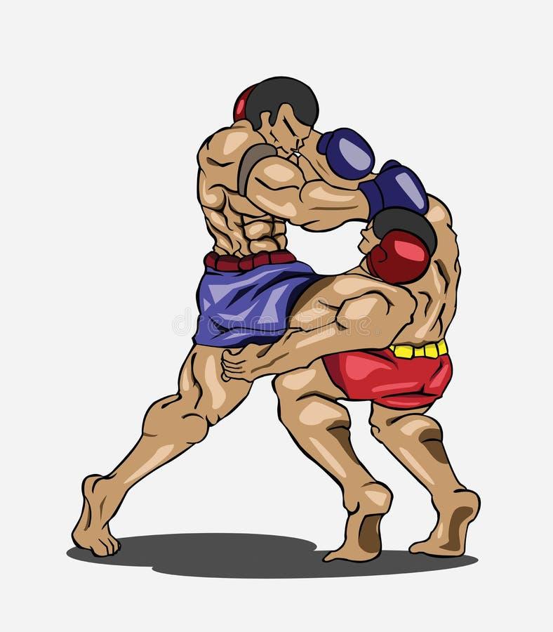 Tailandês de Muay. Arte marcial ilustração royalty free