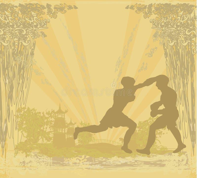 Tailandês de Muay (arte marcial do combate de Tailândia) - Kickboxing ilustração do vetor