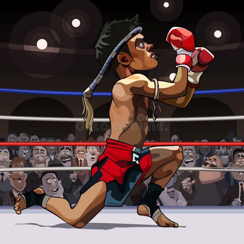 Tailandês muay do lutador do homem dos desenhos animados no anel ilustração stock