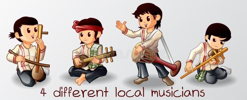 4 tailandeses dos músicos nos personagens de banda desenhada foto de stock
