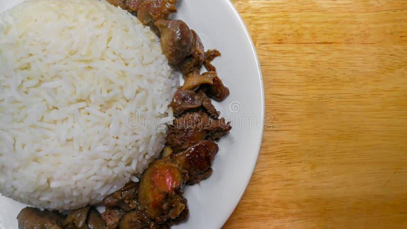 Tailandia, carne del pollo, comiendo, comida, frita, arroz foto de archivo libre de regalías