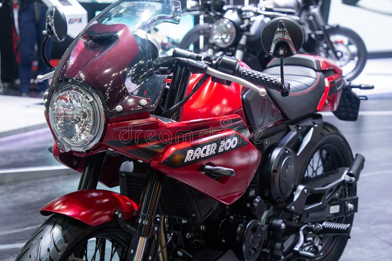 Tailandia - diciembre de 2018: cierre encima de la moto del corredor 200 de GPX presentada en la expo Nonthaburi Tailandia del mo fotografía de archivo
