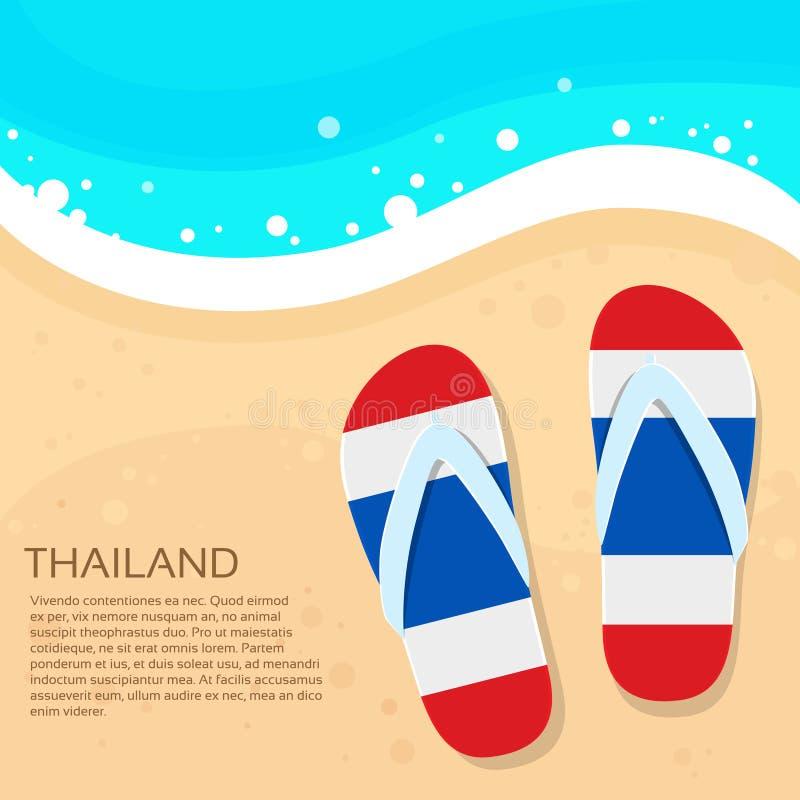 Tailandia Flip-flops color de la bandera de la arena de la playa del verano libre illustration