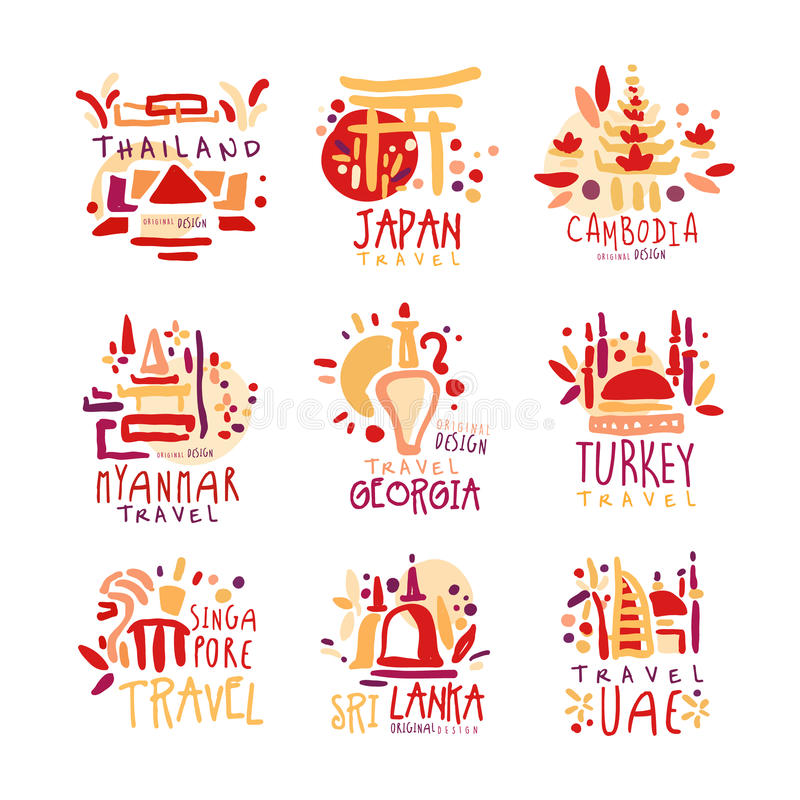 Tailandia, Japón, Camboya, Myanmar, Georgia, Singapur, Turquía, sistema de Sri Lanka del promo colorido firma Mujer joven en la p stock de ilustración