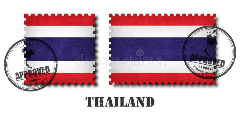 Tailandia o el sello tailandés del modelo de la bandera con vieja textura del rasguño del grunge y pone un sello en fondo aislado ilustración del vector