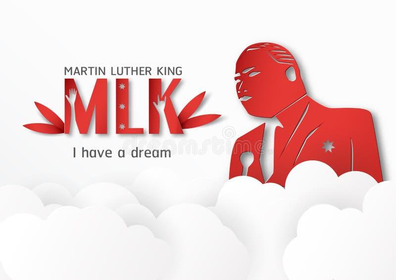 Tailandia, Udonthani - 16 de enero de 2019: Martin Luther King Jr feliz Día con el estilo de papel del corte y del arte Ejemplo d stock de ilustración