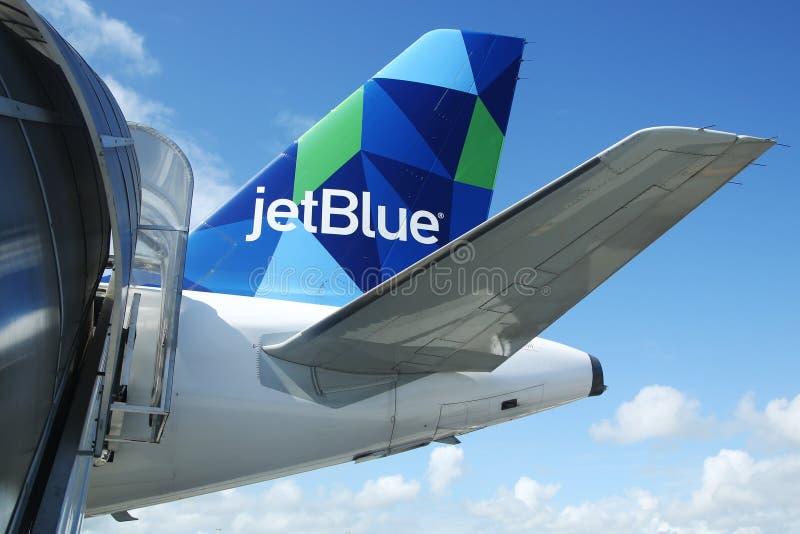 Tailfin дизайна аэробуса A321 JetBlue воодушевленный призмой стоковые изображения