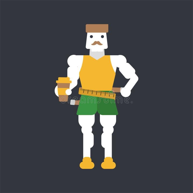 Taille de mesure d'homme avec la bande illustration stock