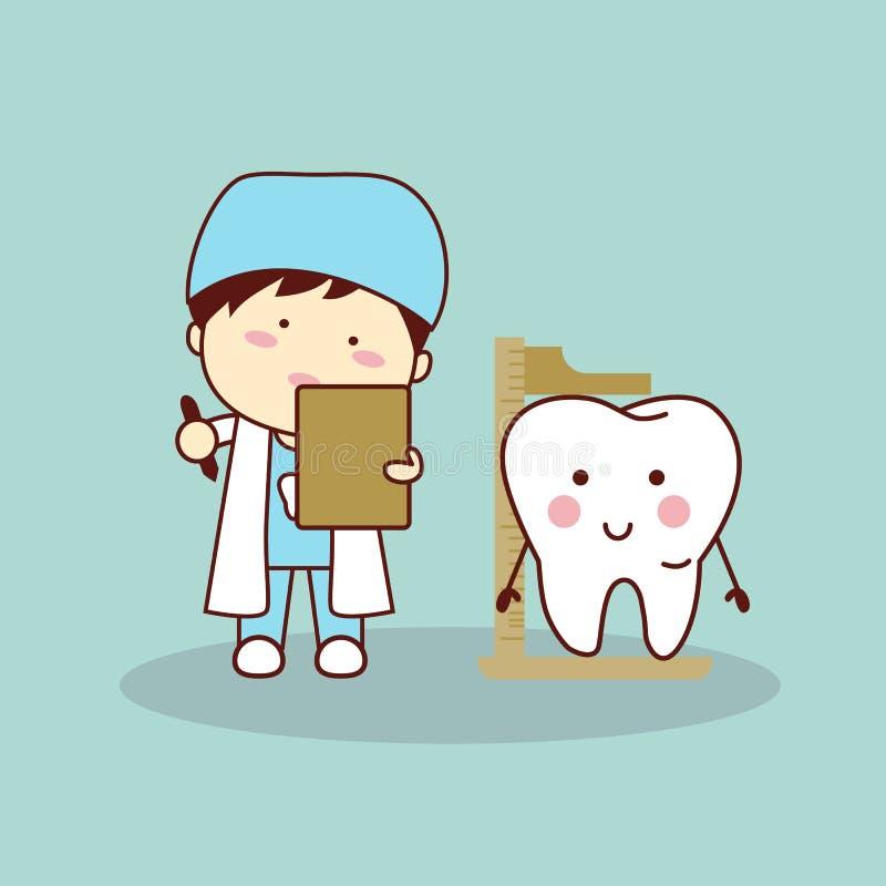 Taille de mesure de dent de dentiste de bande dessinée illustration libre de droits