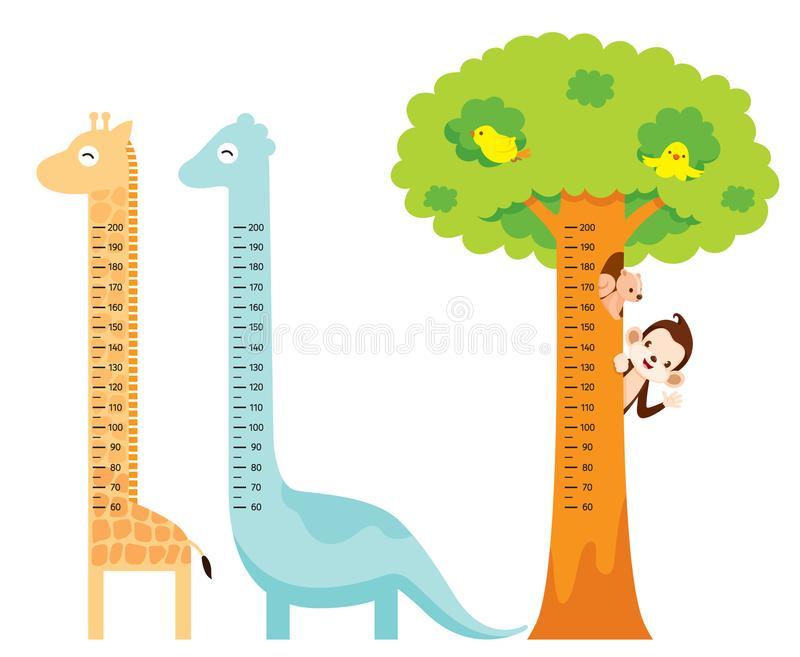 Taille mesurée réglée avec la girafe, dinosaure, oiseau, singe, écureuil illustration de vecteur