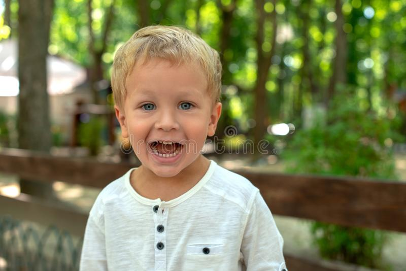 Taille op portret van leuk weinig glimlachende jongen in park royalty-vrije stock afbeelding