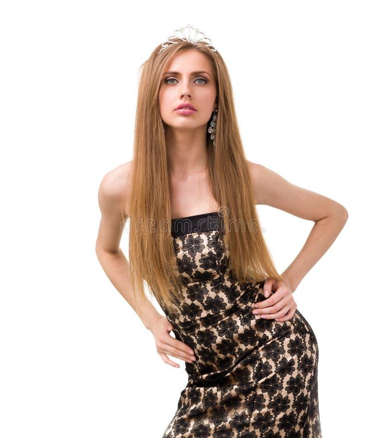 Taille-op portret van mooi meisje met diadeem royalty-vrije stock foto's