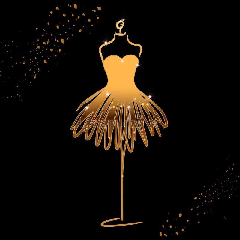 Tailor dummy fashion icon on black background. Atelier, designer, constructor, dressmaker object. Gold sparkling Couture symbol, s stock illustration