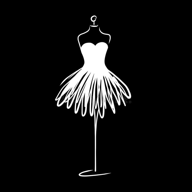 Tailor dummy fashion icon on white background. Atelier, designer, constructor, dressmaker object. Black Couture symbol, silhouette. White background. Vector vector illustration