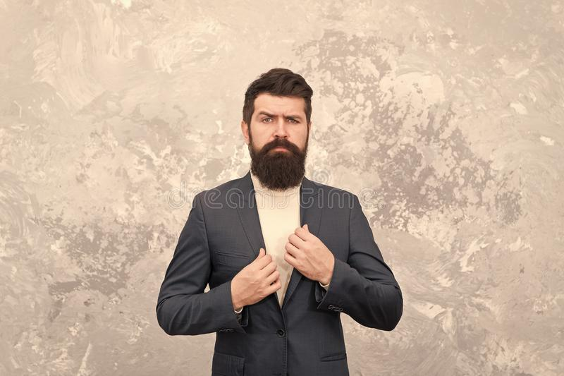 Tailor or fashion designer. Male fashion. Mature businessman. Brutal bearded hipster in formal suit. Modern life royalty free stock photo