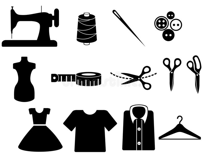 Tailor icon. A set of sewing icons
