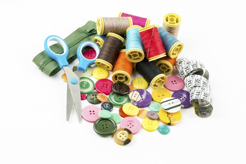 Tailor materials; Colorful sewing threads. Various threads stock photography