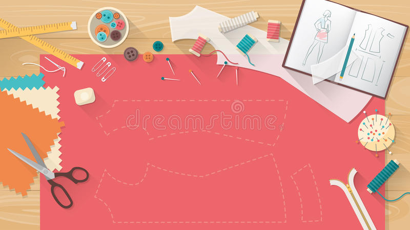 Tailor's table. With fabric, shirt pattern, scissors and sewing equipment, fashion and dressmaking concept banner royalty free illustration