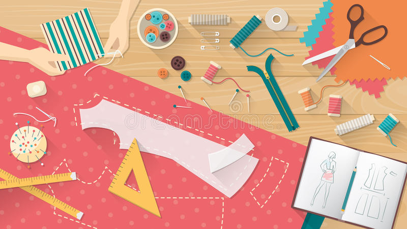 Tailor's table. Tailor working and sewing a shirt, sewing equipment, patterns and sketchbook on the work table, dressmaking concept stock illustration