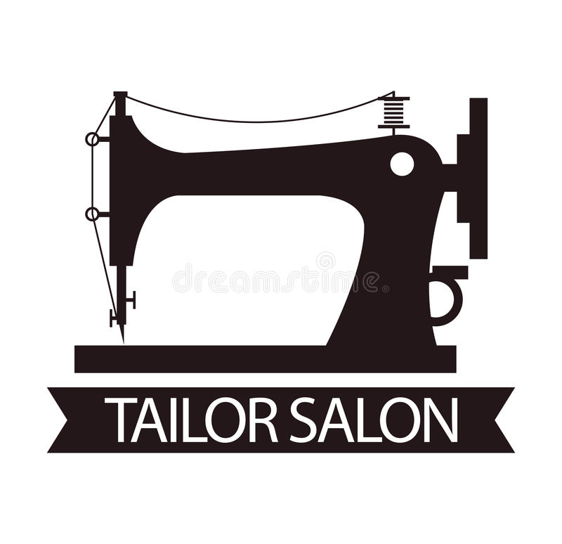 Tailor salon advertising logo vector illustration. Silhouette of sewing machine royalty free illustration