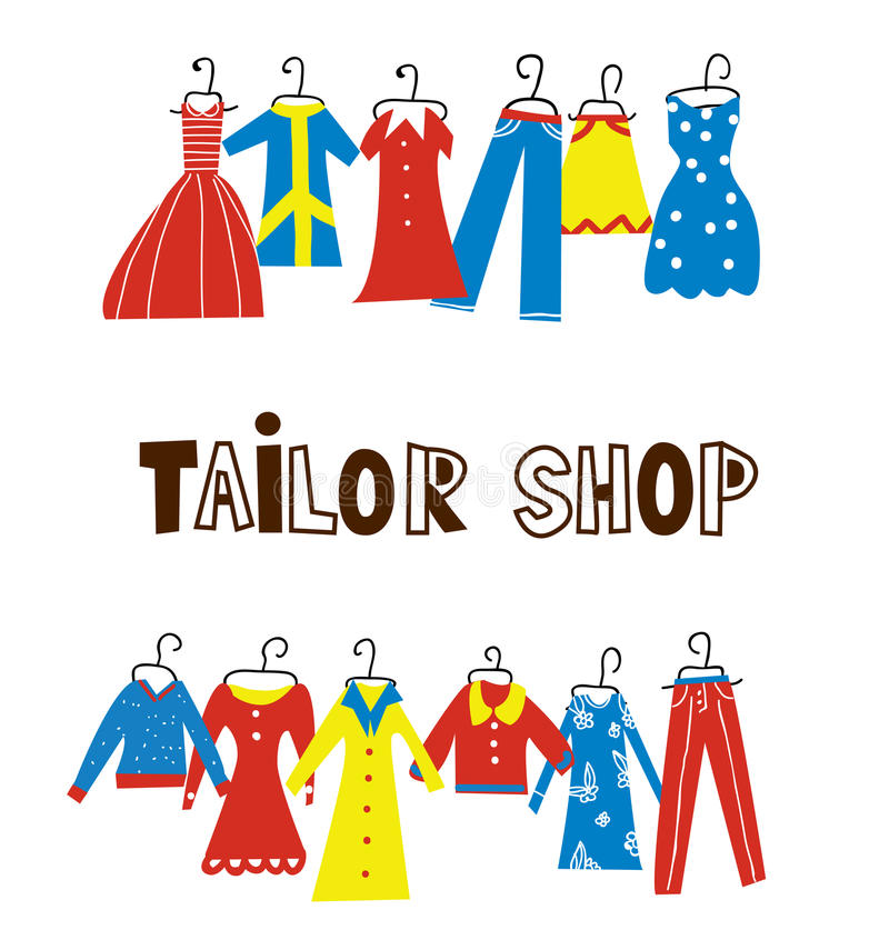Tailor and sewing shop background with clothes royalty free illustration