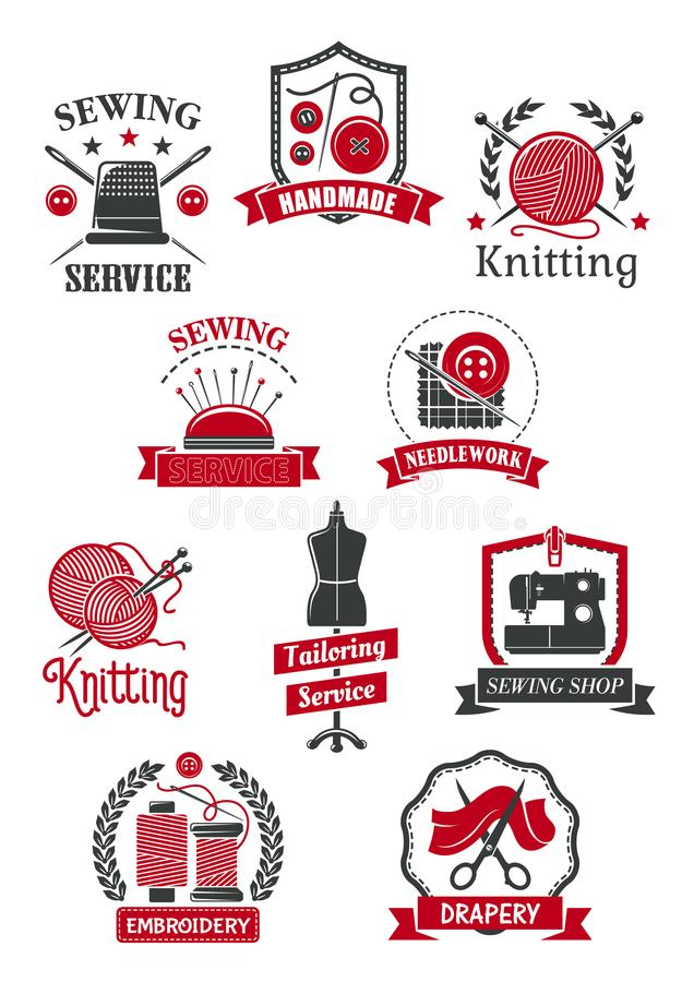 Tailor Sewing Shop Symbols For Handmade Design Stock Vector