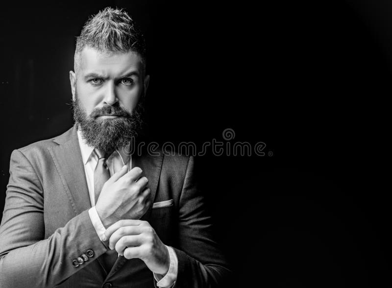 Tailor shop. Bearded man suit fashion. Luxury classic suits, vogue. royalty free stock images