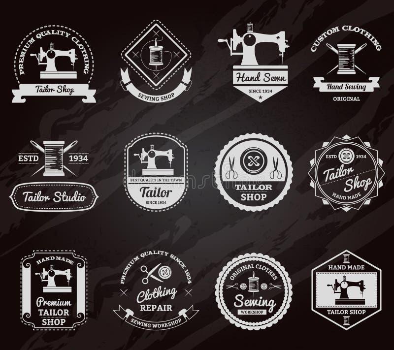 Tailor shop chalkboard labels icons set vector illustration