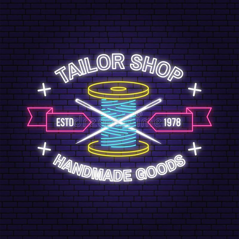 Tailor shop neon design or emblem. Vector. Night neon signboard. Vintage typography design with sewing needle and spool vector illustration