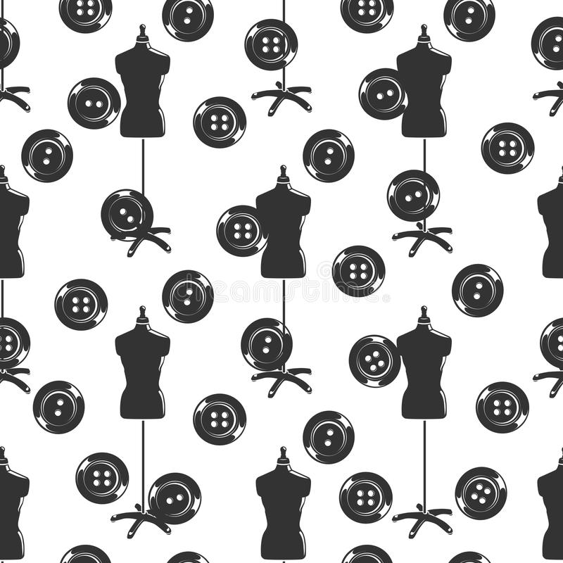 Tailor shop seamless pattern with dummy and buttons royalty free illustration