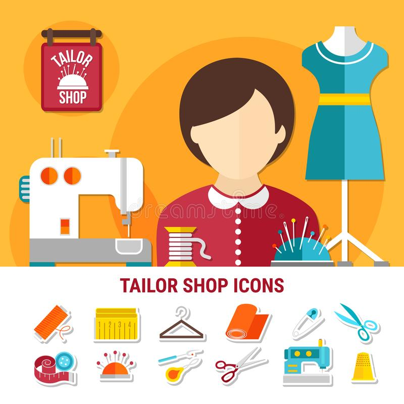 Tailor Shop Illustration stock illustration