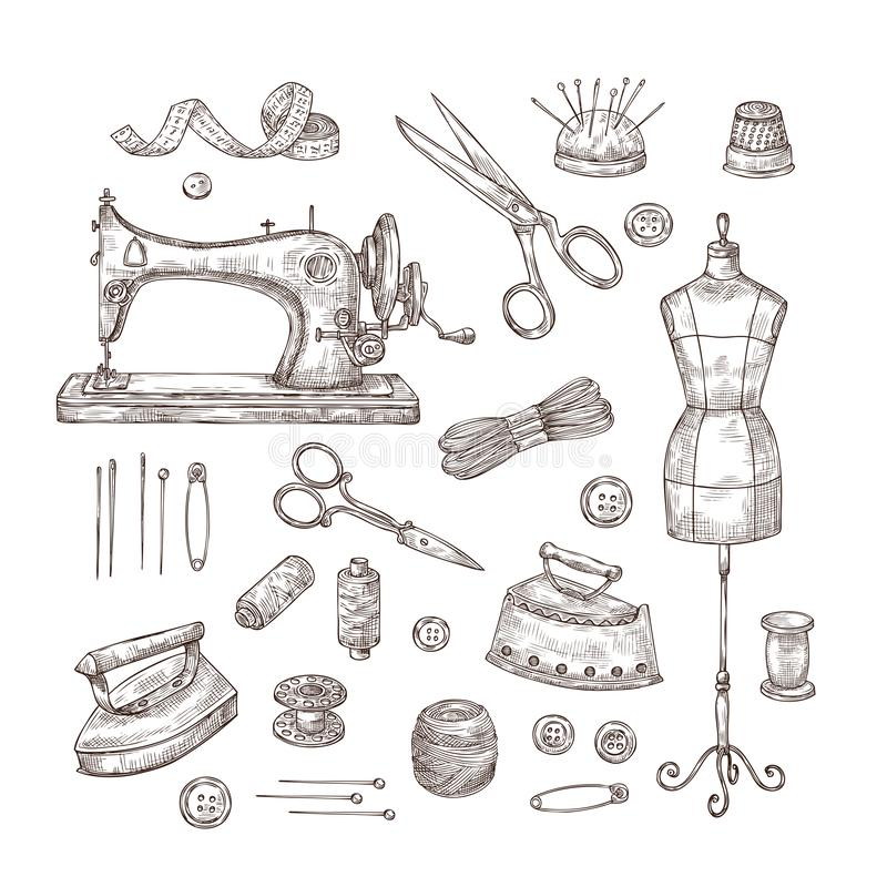 Tailor shop. Sketch sewing tools materials vintage clothes needlework textile industry stitching tailor handicraft stock illustration