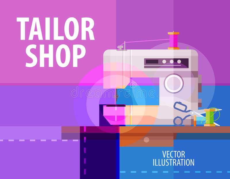 Tailor shop vector logo design template. electric royalty free illustration